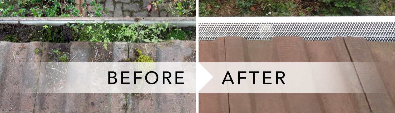 All Clear Leafguard Before and After gutters image